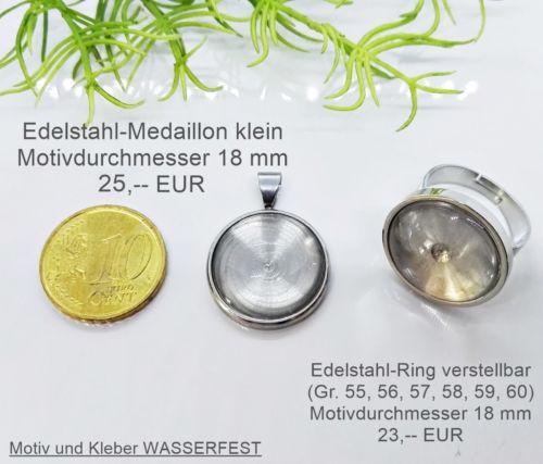 Medaillon klein und Ring Größenreferenz